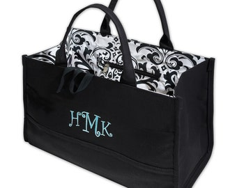 Black Tote With Damask Lining (c258-1109) - Free Personalization