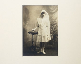 Antique photograph of young woman, communion or confirmation, 1890's, vintage photo