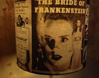 Old Vintage Horror Movie Kitsch inspired Lamp shade 'BEAUTIFULLYWEIRD'