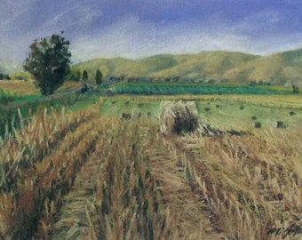 Hayfield - small original pastel painting california landscape farm hay field