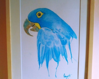 Original watercolour painting, bird, parrot, blue bird, blue parrot, bright, colouful bird