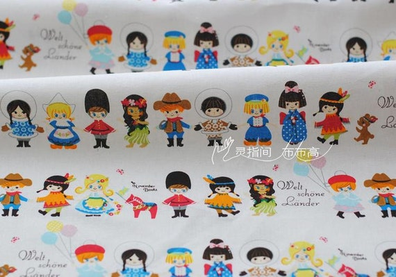 Children 39 s fabric linen cotton happy holiday children for Cotton fabric for children s clothes