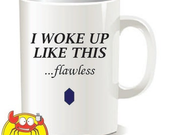 I woke up like this FLAWLESS mug, Funny Coffee Mug, Quote Mug, Beyonce lyric, ceramic mug