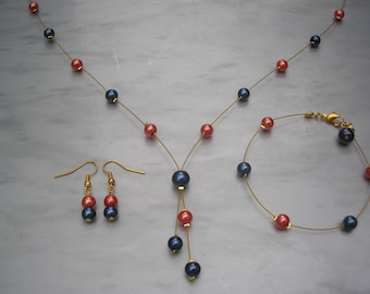 Zoe ~ Pearl Lariat Style Necklace Bracelet and Earrings Jewellery Set, Navy Blue with your colour choice