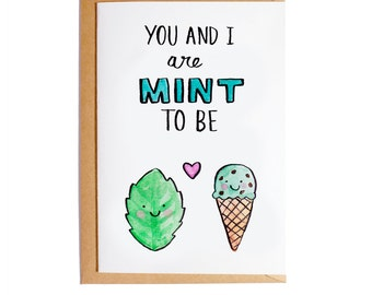 You And I Are Meant To Be - A6 Blank Card - Watercolour - Pun