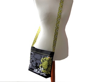 Shoulder bag black with yellow flowers grey white