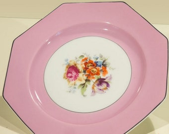 Set of Eight Pink Floral Plates