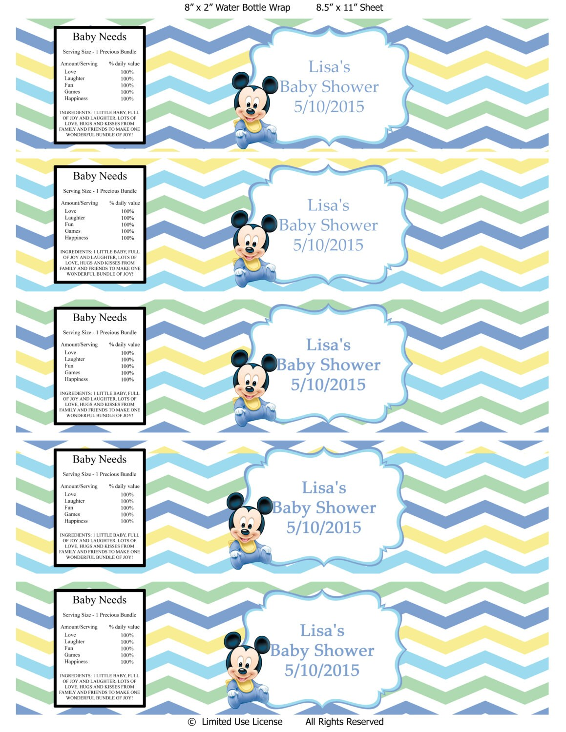 mickey mouse baby shower water bottle labels