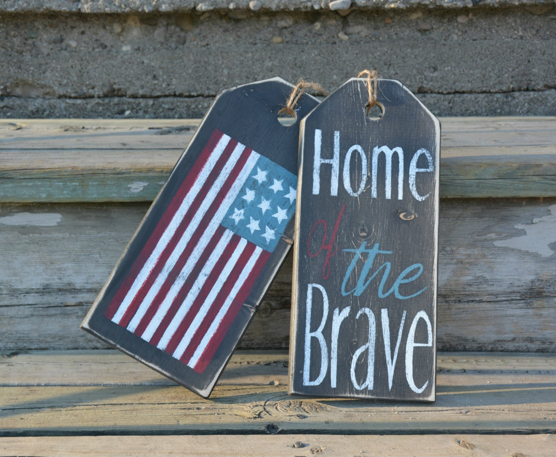 Front door decoration. American flag front door sign. Home