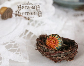 Orange and Yellow Aster  Ring - Delicate Autumn Flowers - Polymer Clay Jewelry - Fall trend