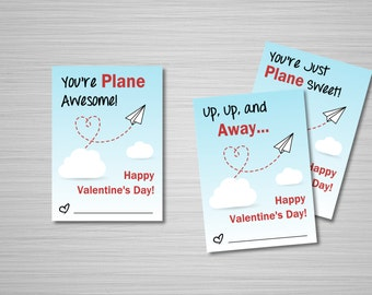 "Paper Airplane Valentines Printable Download - Set of 3 Valentine's Day Cards - 2.5""x3.5"" - Print at Home Valentines - Classroom Valentines"