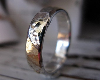 Rustic Sterling Silver and 18k Gold Mens Wedding Band 4.4mm Width Hammered Texture Mens Wedding Ring or Commitment Ring
