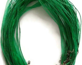 20 Emerald Green Organza Ribbon Necklaces Chokers 17-18 Inches Plus Extension Chain