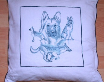 GERMAN SHEPHERD DOG   embroidered sketches collage cushion/pillow cover