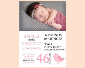 Birth Announcement Girl With Bird