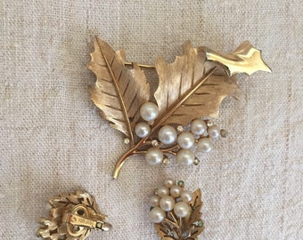 Trifari brooch and matching earrings