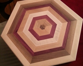 Hexagon Cutting Board made with Maple, Walnut, Cherry, Purpleheart