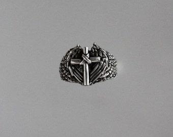 Cross on Angel Wings Sterling Silver Ring