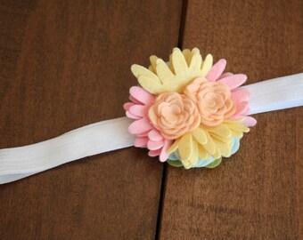 Wool Felt Flower Headband-Baby-Infant Headband-Easter-Spring Headband