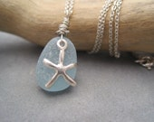 Sea Glass Pendant - Light Blue - Beach Glass - Starfish Charm - Beach Charm - Charm Jewelry