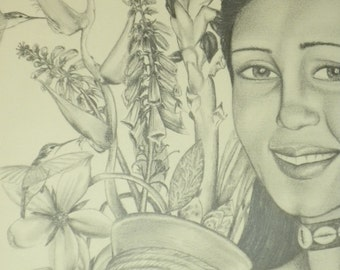 """ORIGINAL Drawing - Graphite """"Woman with a Basket"""""""