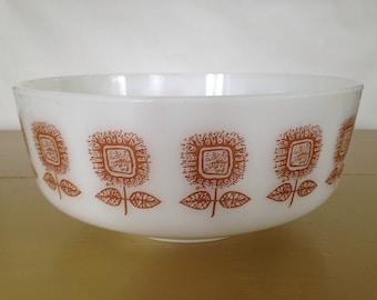 Federal milkglass bowl Blossom Time, Brown Sunflower Bowl, Federal Bowl, milk glass bowl, vintage Federal glass