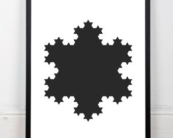 Snowflake print, winter print, black print, geometric print, fractal print, monochrome print, black wall decor, instant download, 18x24