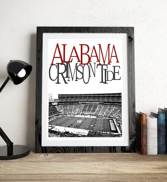 items similar to alabama crimson tide football stadium art. Black Bedroom Furniture Sets. Home Design Ideas