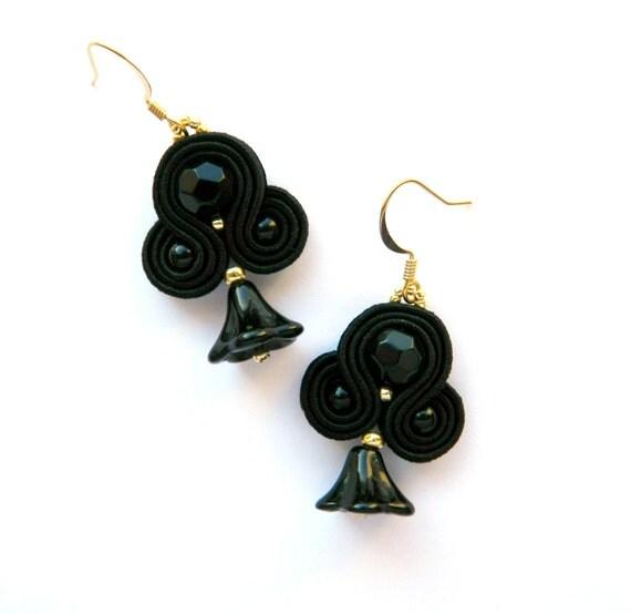 Black dangle earrings, black small earrings, black crystal earrings ...