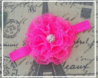 Lace Baby Headband, Newborn Headband, Child Headband, Baby Photo Prop, hot pink, lace flower headband