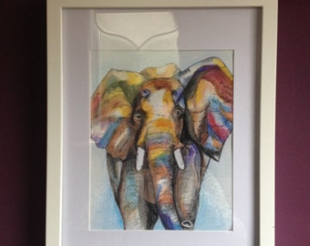 Original pencil drawing of an Elephant. Vibrant and colourful and framed using white plastic.
