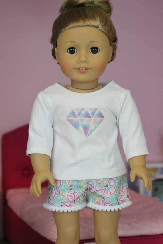 Tie Die Diamond Graphic Tee for American Girl or 18 inch dolls