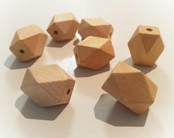 DIY 30mm x 20mm hexagon, Hexi, Geo , polygon faceted Natural Eco Wood beads- Wooden - non toxic - Wholesale