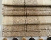 Roman Blind in Natural Tweed with pom pom trim. Custom order for Bronwen