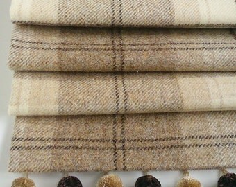 Roman Blind in Natural Tweed with pom pom trim. Made to measure.