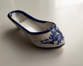 Porcelain Heel Collector Shoe, Decorative Off White, Blue flowers, Made in Portugal, 1950s, Porcelain Shoe, Porcelain High Heel Slipper