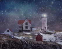 Nubble Lighthouse in Winter - Classic New England Winter Scene - Classic Winter Decor