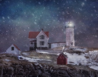 Nubble Lighthouse in Winter - Classic New England Winter Scene - Classic Winter Decor