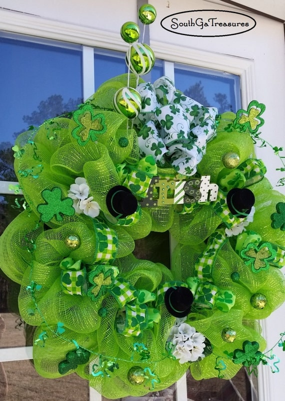 price reduced deco mesh st patricks day wreath st patricks. Black Bedroom Furniture Sets. Home Design Ideas