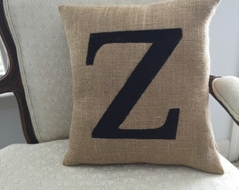 16x16 Single Monogram Burlap Pillow