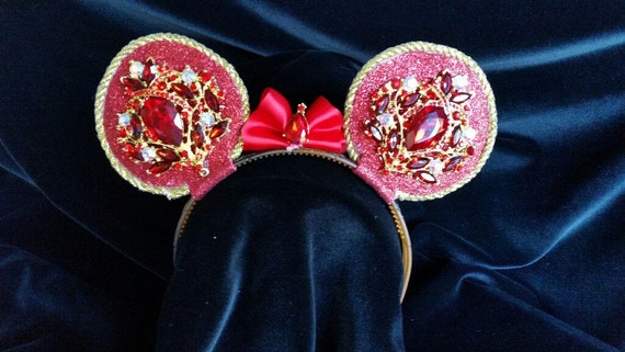 Red & Gold jeweled Rhinestone Mouse Ear Headband