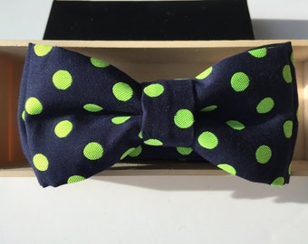 Luxury Navy,  Bright Green or Bright Orange Cotton Embriodered Polka Dot Bow Tie for Baby, Boys, and Adults