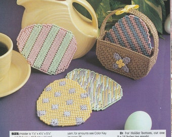 Easter Egg Coasters with Basket Holder in Plastic Canvas