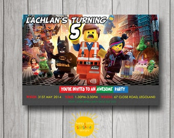Boy Birthday Invitation Personalised Printable Any Age Lego