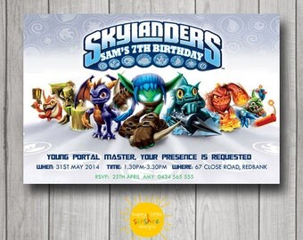 Skylanders Boy Birthday Invitation Personalised Printable Any Age