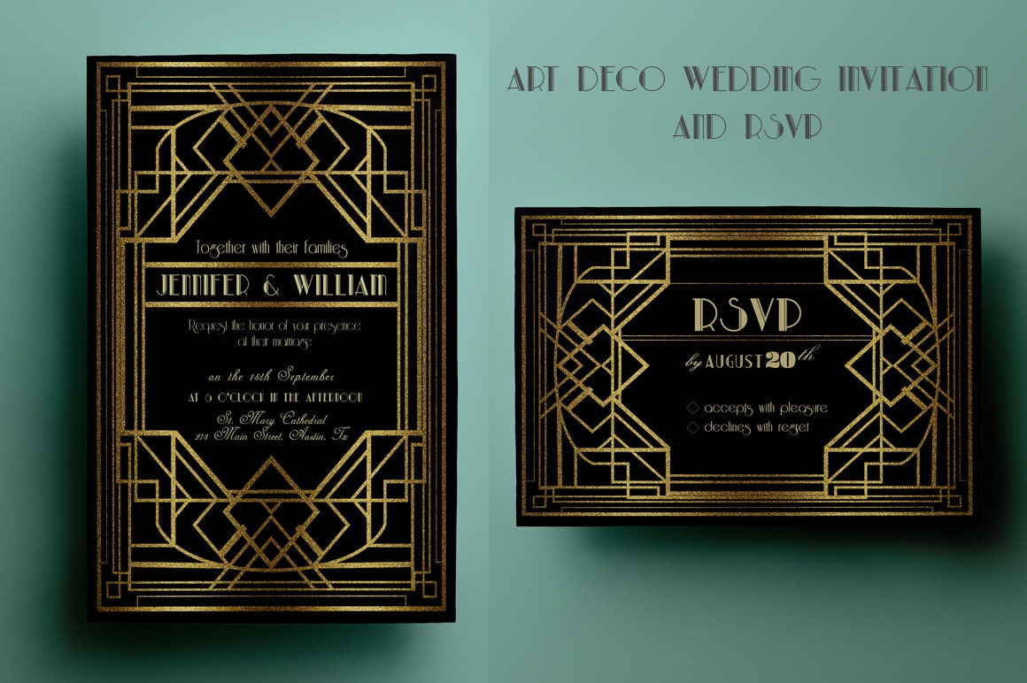 Artist Wedding Invitations: Art Deco Wedding Invitation Template Gatsby Wedding