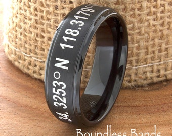 Tungsten Wedding Band Coordinates Ring Any Coordinates Location Customized Stepped Black Laser Engraved Ring Unique New Modern 6mm Rings