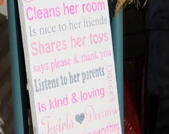 Princess décor sign- Princess rules Wooden art - Hand Painted - Bedroom Kid -Baby Subway art - girls bedroom - Typography Word Art