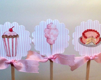 Birthday Cupcake Toppers- Circus Theme Food Theme Shower Toppers-Set of 12