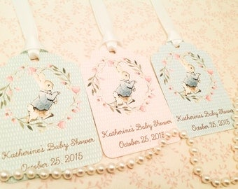 Peter Rabbit Favor Tags-Floral Baby Shower Gift and Thank You Tags-Set of 12